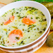 Traditional polish cucumber soup — Stock Photo