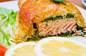 Salmon in puff pastry — Stock Photo