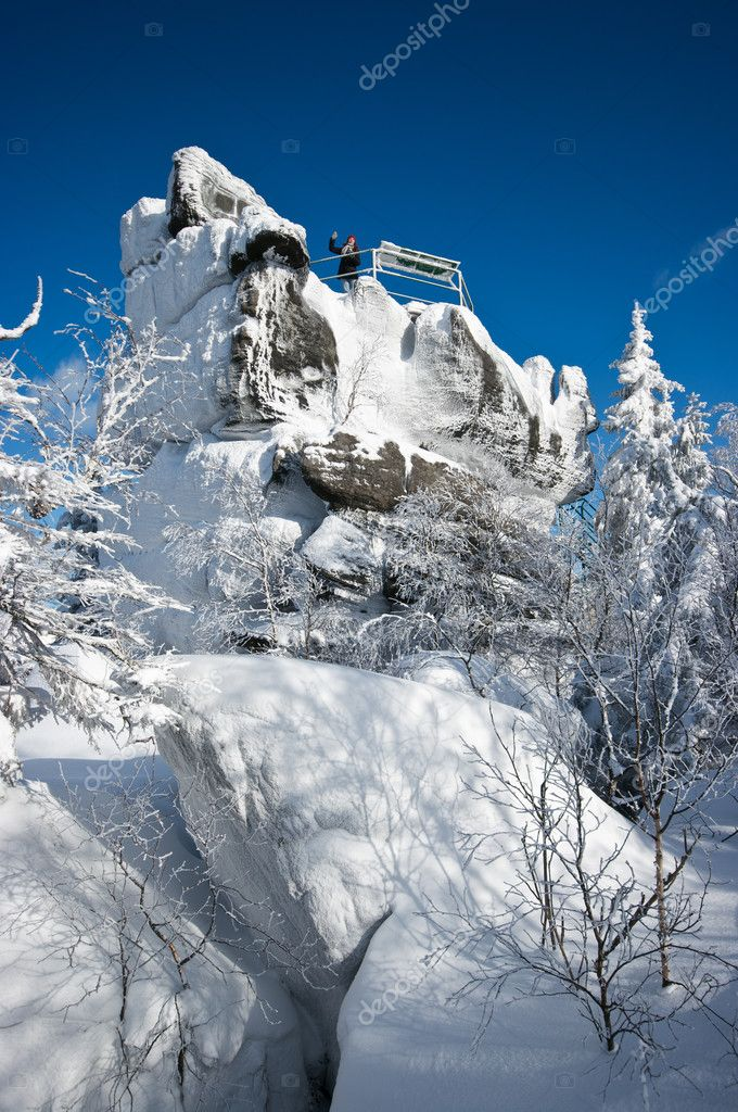 Famous view point rock on Szczeliniec Mountain, Poland  Stock Photo #11734970