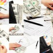 Stock Photo: Business arm of money vsih angles at once