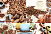 Coffee collage of cups, beans and other details — Stock Photo