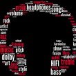 Headphones music tagcloud — Stock Photo