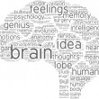 Brain tag cloud pictogram — Stock Photo