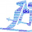 Ski pictogram tag cloud — Stockfoto #10760752