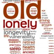 Old person pictogram tagcloud — Stockfoto