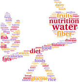 Food balance tagcloud illustration — 图库照片
