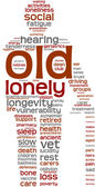 Old person pictogram tagcloud — Stock Photo
