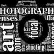 Camera symbol tag cloud — Stock Photo