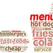 Fast food pictogram tag cloud — Stock Photo
