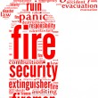 Fire extinguisher tag cloud - Stockfoto