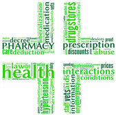 Pharmacy symbol tag cloud — Stock Photo