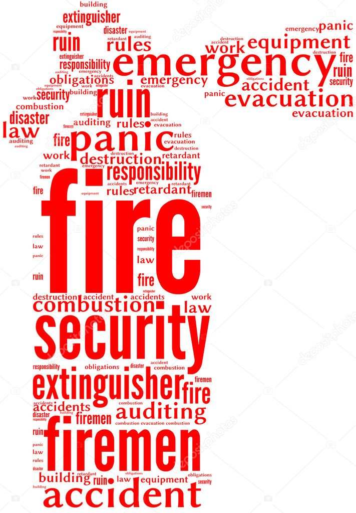 Illustration of fire extinguisher sign tag cloud with red words on a white background — Stock Photo #10948369