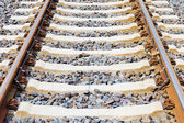 Railway lines closeup — Stock Photo