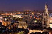 Kathedrale von burgos heute abend, burgos, castilla y leon, spanien — Stockfoto