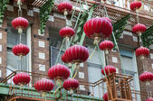 Garlands of red Chinese lanterns — Stock Photo