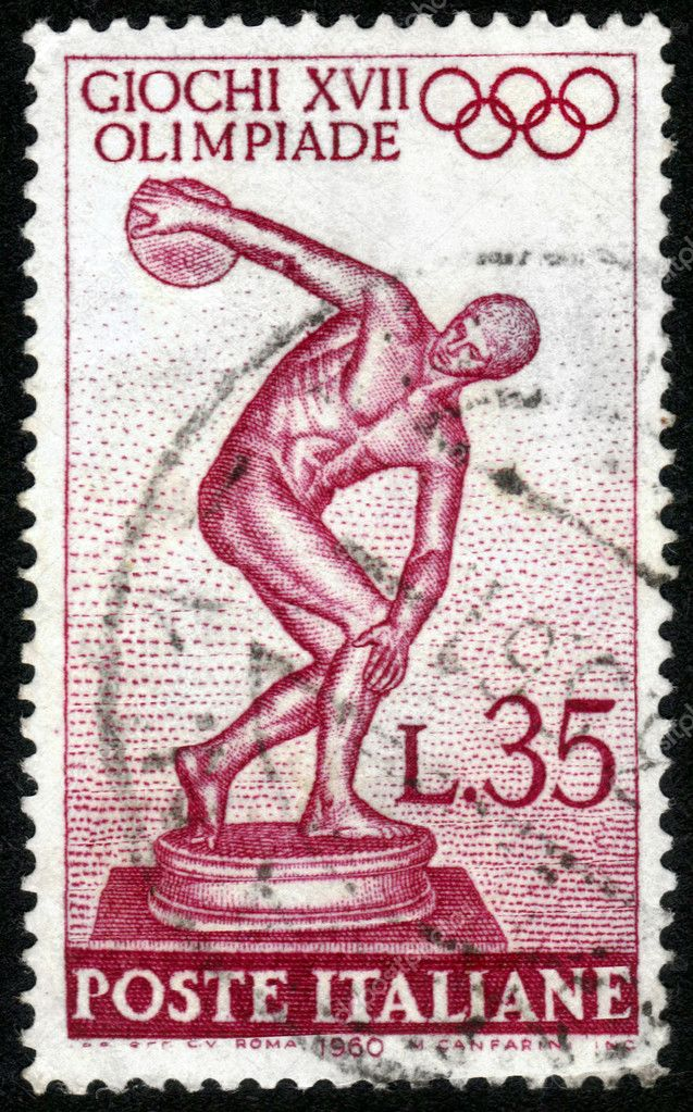 ITALY - CIRCA 1960: A stamp printed in Italy, shows image of Myron&#039;s Discobolus , devoted to 17th Olympic Games, Rome, Italy , circa 1960  Stock Photo #11372283