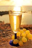 ワインとブドウのグラスのある静物 — ストック写真