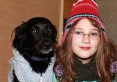 Girl and dog — Stock Photo