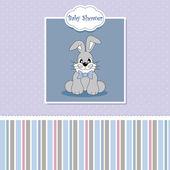 Baby birth card. rabbit — Stock Vector