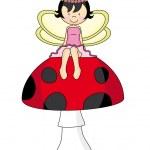 Fairy sitting on a mushroom — Stock Vector