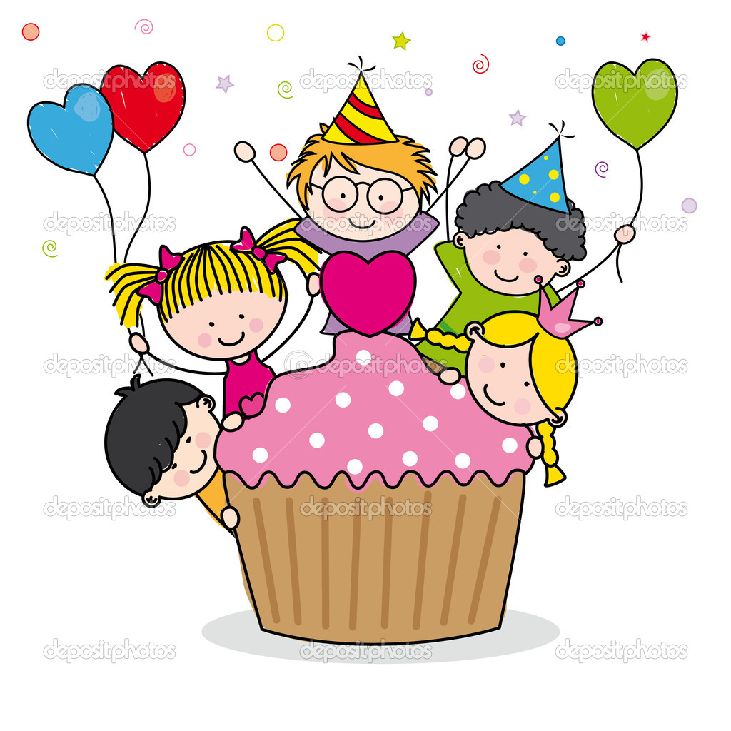 Cute cartoon kids. Celebrating birthday party — Stock Vector #11302516