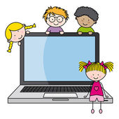 Children with a computer — Stock Vector