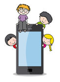 Children with a mobile phone — Stock Vector