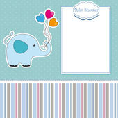 New baby shower card with elephant — Stock Vector