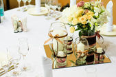 Table setting for wedding dinner — Stock Photo