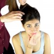 Girl doubting about haircut — Stock Photo #10788012