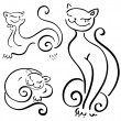 Funny cats sketch collections. — Stock Vector