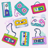 Set of retro cassette tapes — Stock Vector