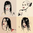 Royalty-Free Stock Immagine Vettoriale: Set of sketch Beautiful girls.