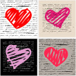 Heart illustration set. Love. Vector background. — Imagens vectoriais em stock