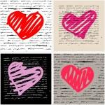 Heart illustration set. Love. Vector background. — Stock Vector