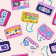 Seamless pattern of retro cassette tapes — Stock Vector #11983206