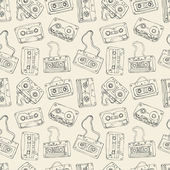 Seamless pattern of retro cassette tapes — Stock Vector