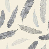 Feather seamless background. — Vector de stock