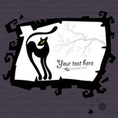 Vector Halloween template with black cat. — Stock Vector