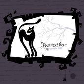 黒い猫とハロウィーン テンプレートをベクトルします。. — ストックベクタ