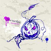 Handgezeichnete halloween-hintergrund mit kürbis. — Stockvektor