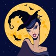 Beautiful witch. Halloween illustration. — Stock Vector