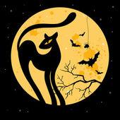 Vektor-halloween-hintergrund mit schwarze katze. — Stockvektor