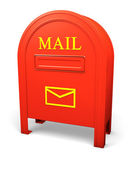 Red isolated postbox with an envelope sign 2 — Stock Photo