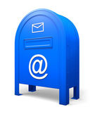 Blue isolated postbox with an envelope and an AT signs — Stockfoto