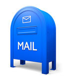 Blue isolated postbox with an envelope sign 2 — Stock Photo