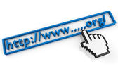 Org URL string and hand cursor — Stock Photo