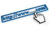Empty.com URL string and hand cursor — Stock Photo