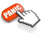 Oval red button PANIC and hand cursor — Stock Photo