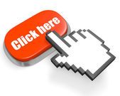 "Oval red button ""Click here"" and hand cursor — Stock Photo"